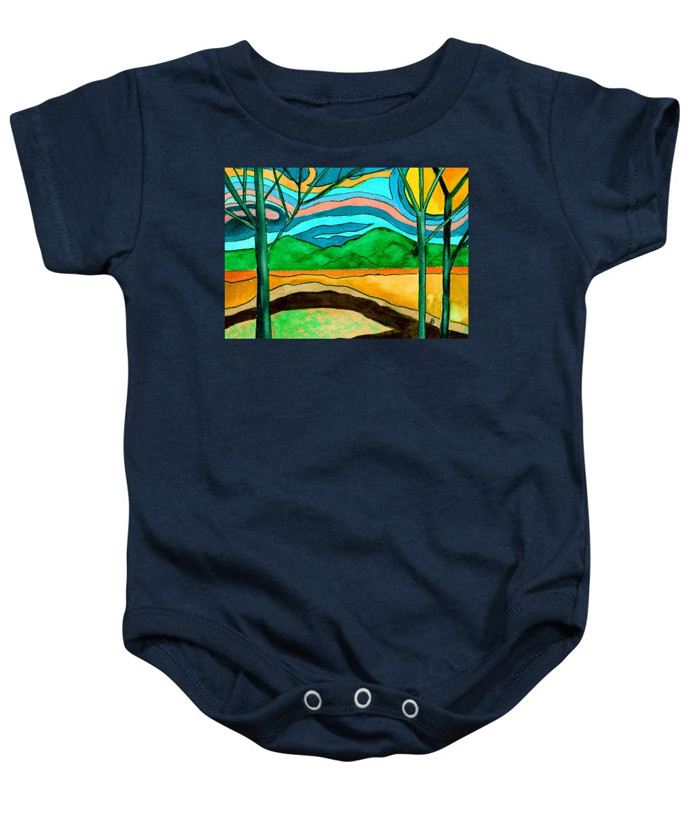 Watercolor Baby Onesie featuring the painting Green Hill Country by Brenda Owen