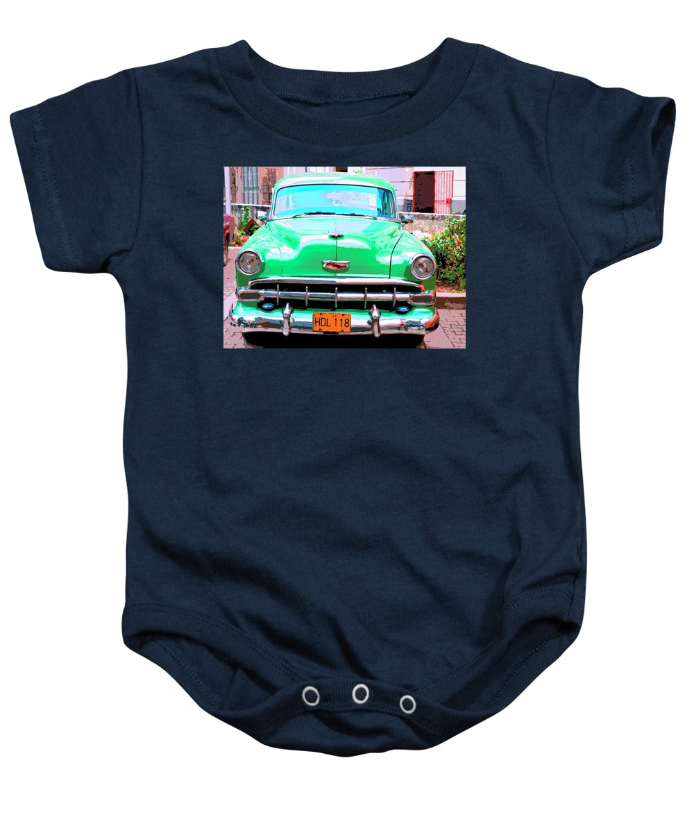 Green Machine Baby Onesie featuring the mixed media Green Machine by Dominic Piperata