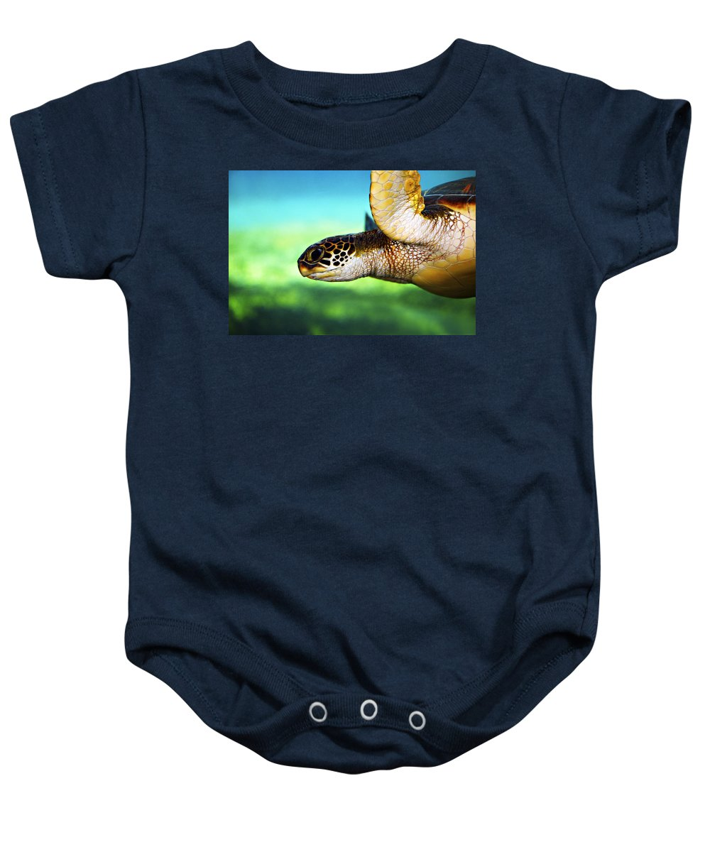 Green Baby Onesie featuring the photograph Green Sea Turtle by Marilyn Hunt