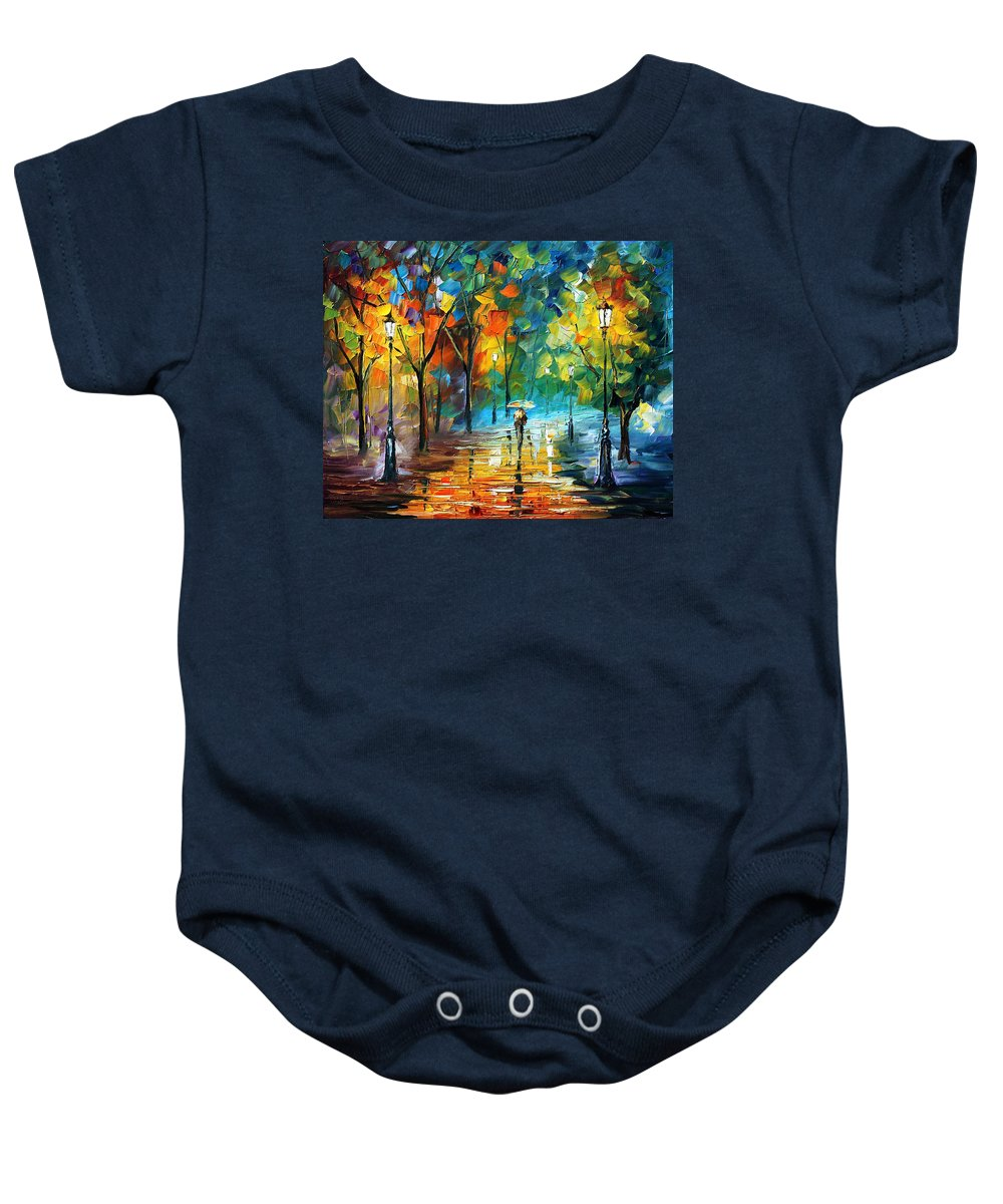 Landscape Baby Onesie featuring the painting Green Tree by Leonid Afremov