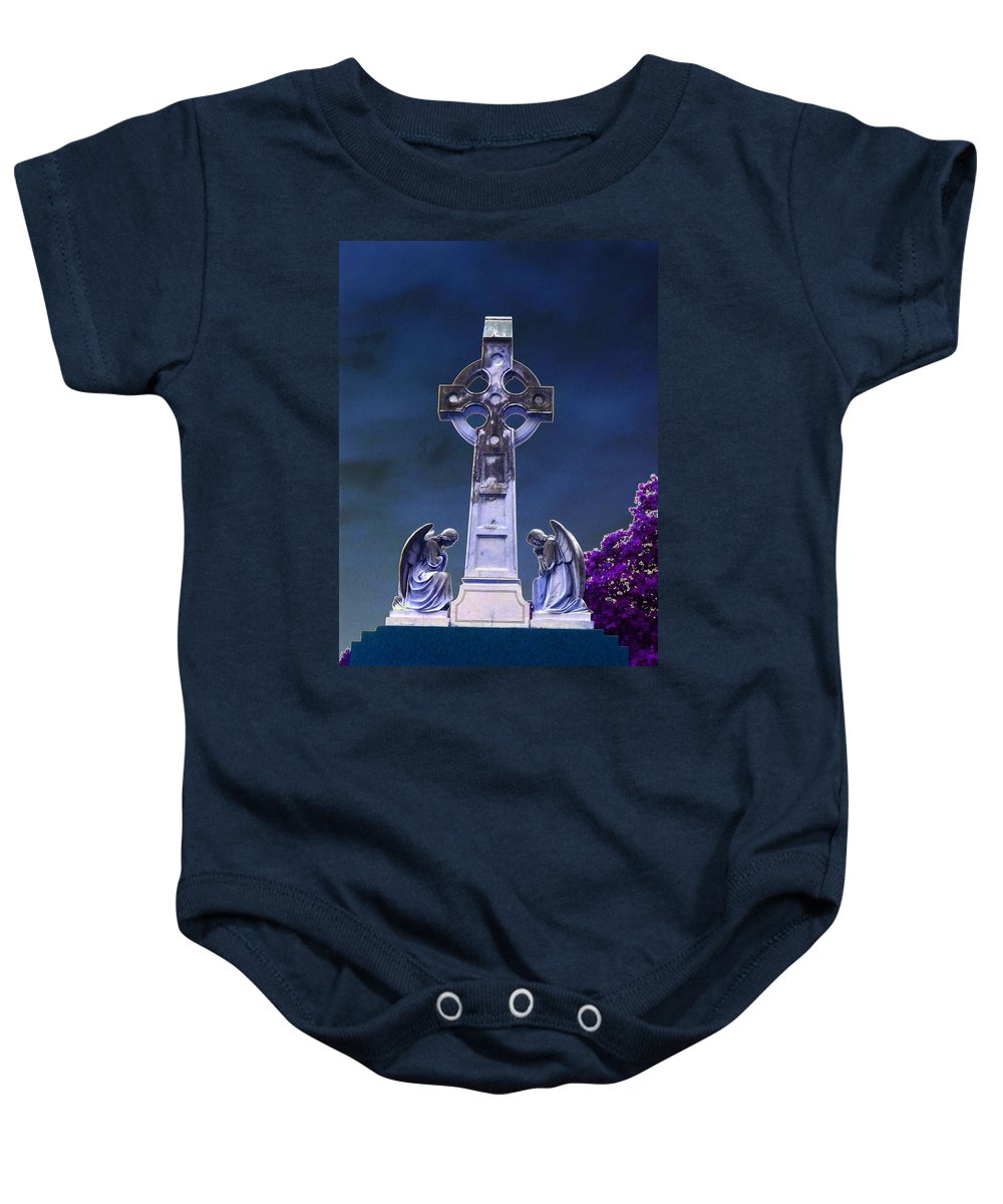 Cross Baby Onesie featuring the photograph Guardians by Charleen Treasures