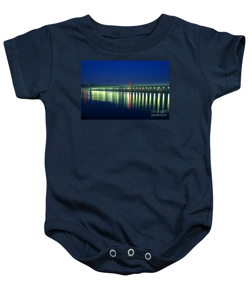 Pier Baby Onesie featuring the photograph Guiding Light by Robert Pearson