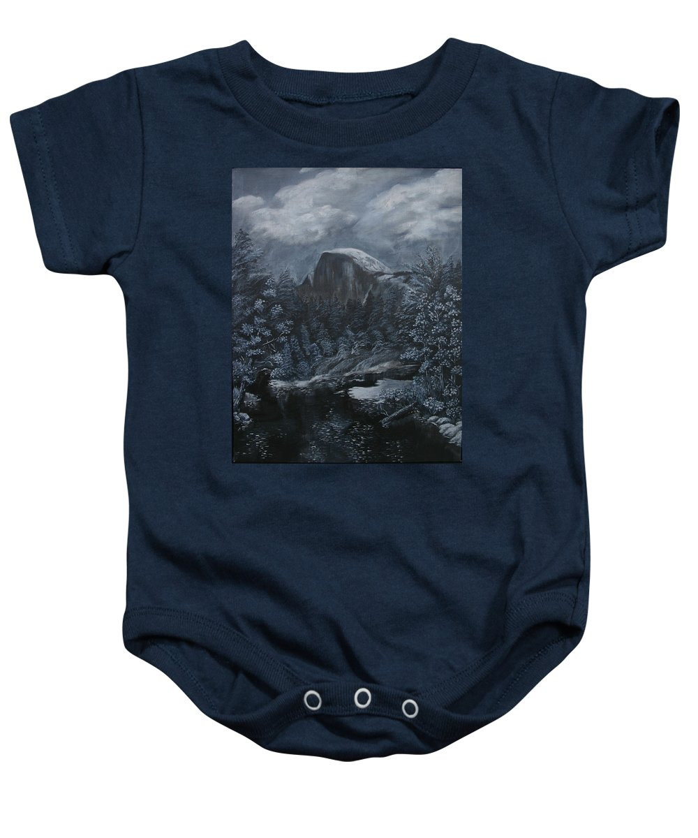 Yosemite Baby Onesie featuring the painting Half Dome Black And White by Travis Day