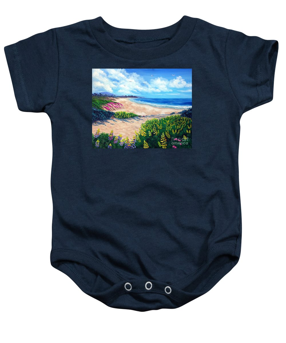 Half Moon Bay Baby Onesie featuring the painting Half Moon Bay In Bloom by Laura Iverson
