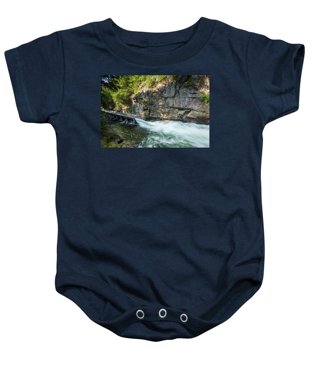 North America Baby Onesie featuring the photograph Haliburton Log Chute B by David Finlayson