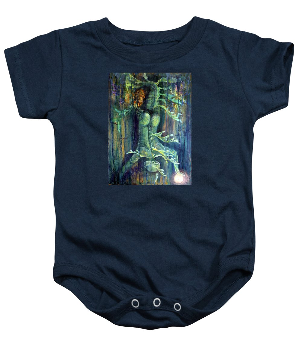 Florida Reef Baby Onesie featuring the painting Hanged Man by Ashley Kujan