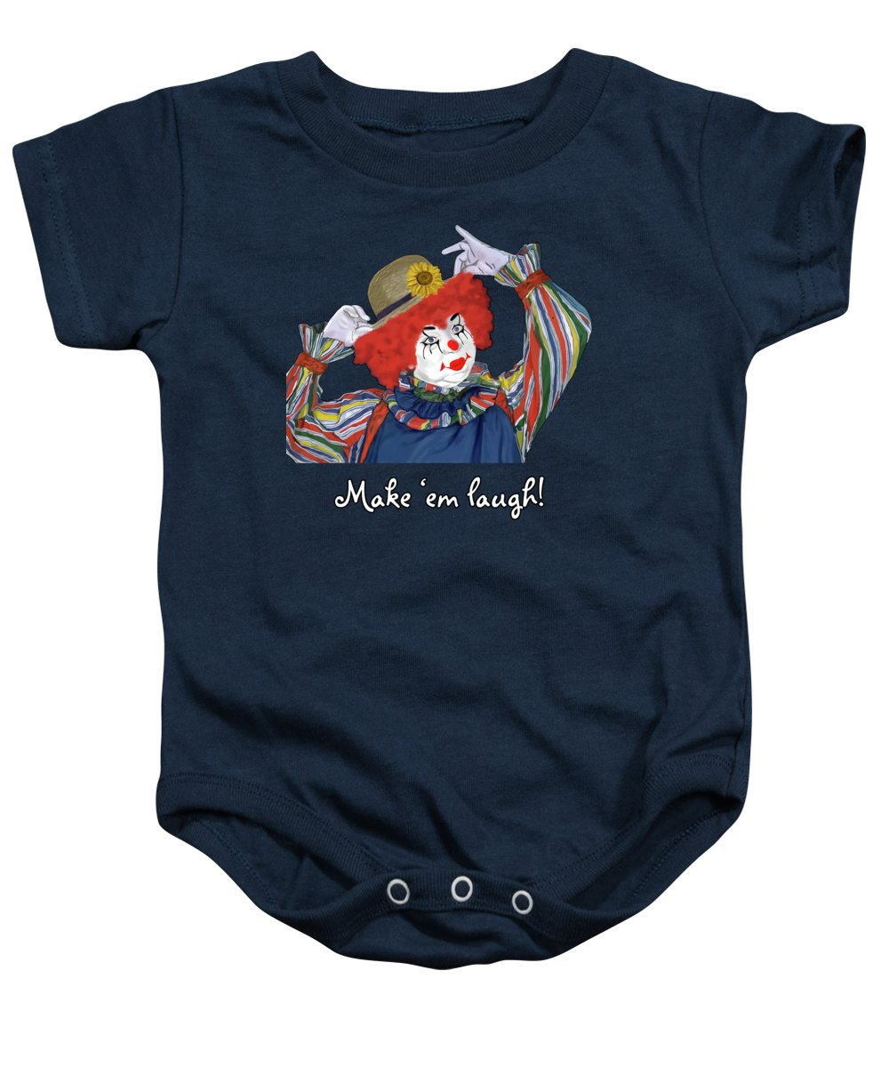 Happy Clown Baby Onesie featuring the painting Happy Clown by Methune Hively