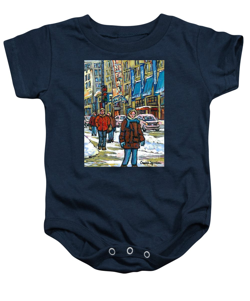Original Montreal Paintings For Sale Baby Onesie featuring the painting Achetez Les Meilleurs Scenes De Rue Montreal Best Original Art For Sale Montreal Streets Paintings by Carole Spandau