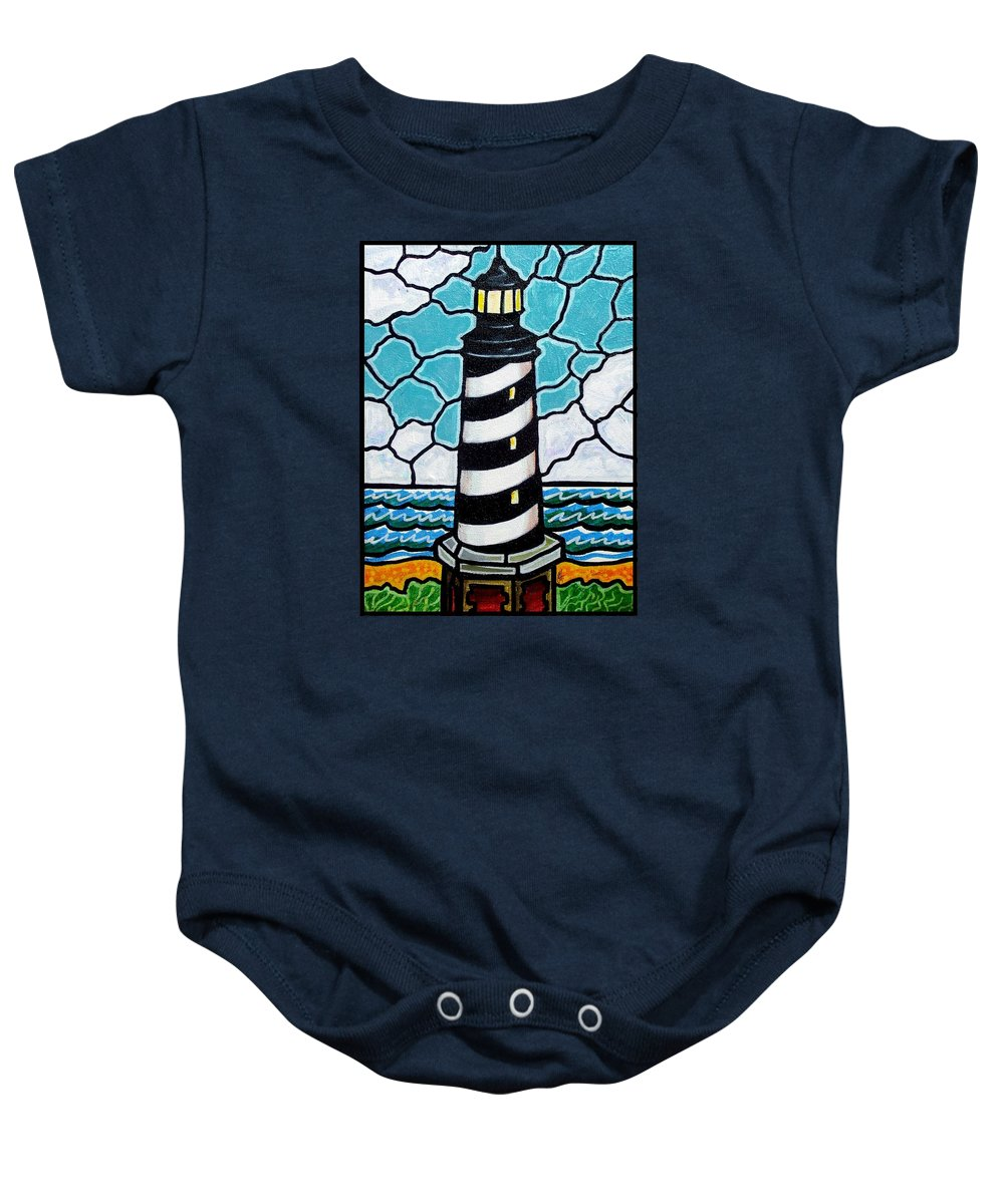 Lighthouse Baby Onesie featuring the painting Hatteras Island Lighthouse by Jim Harris