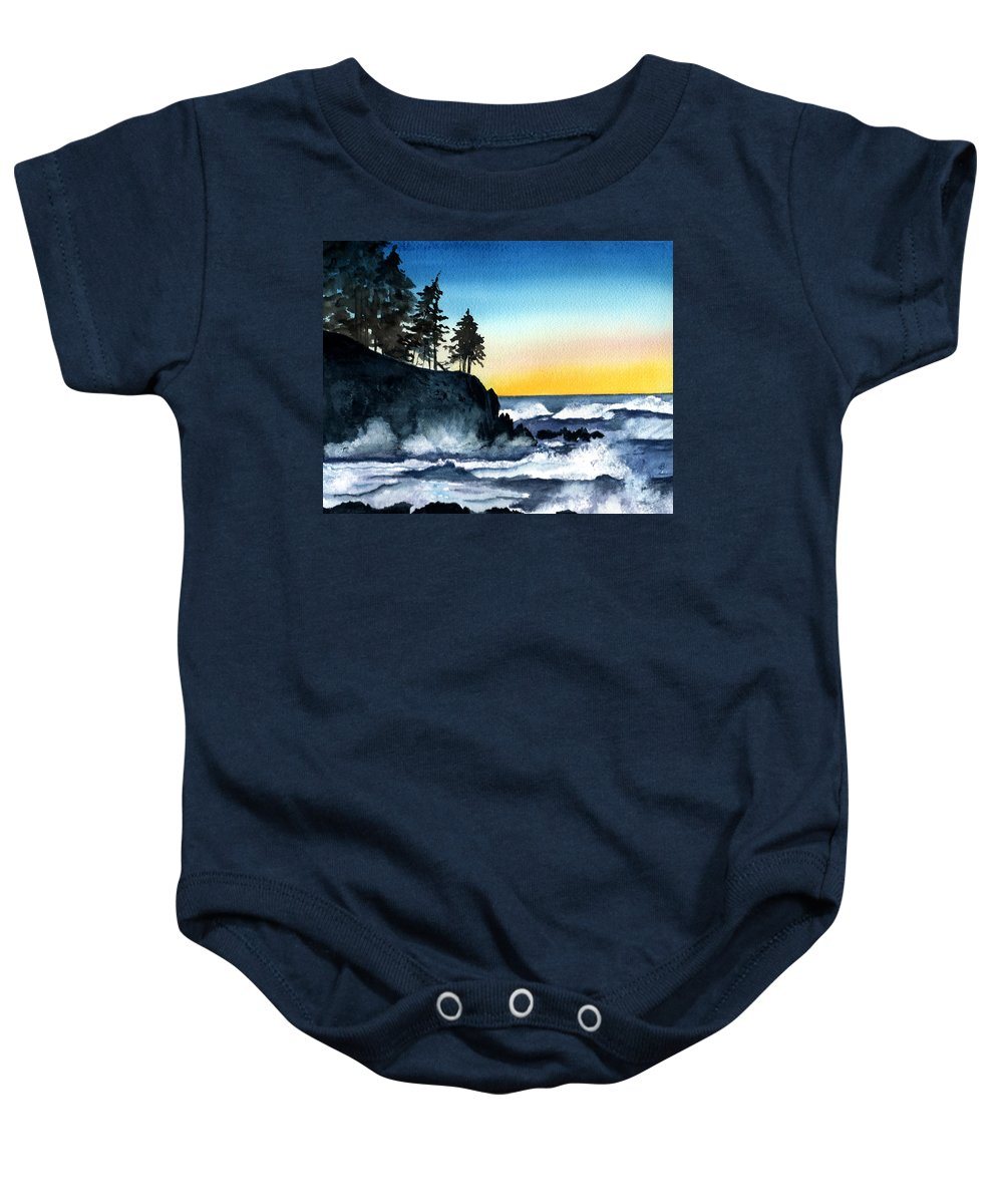 Alaska Baby Onesie featuring the painting Headland by Brenda Owen