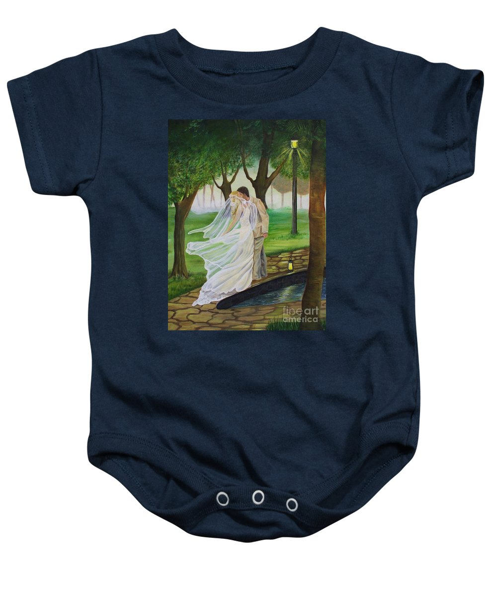 Bride And Groom Baby Onesie featuring the painting Heart To Heart by Kris Crollard