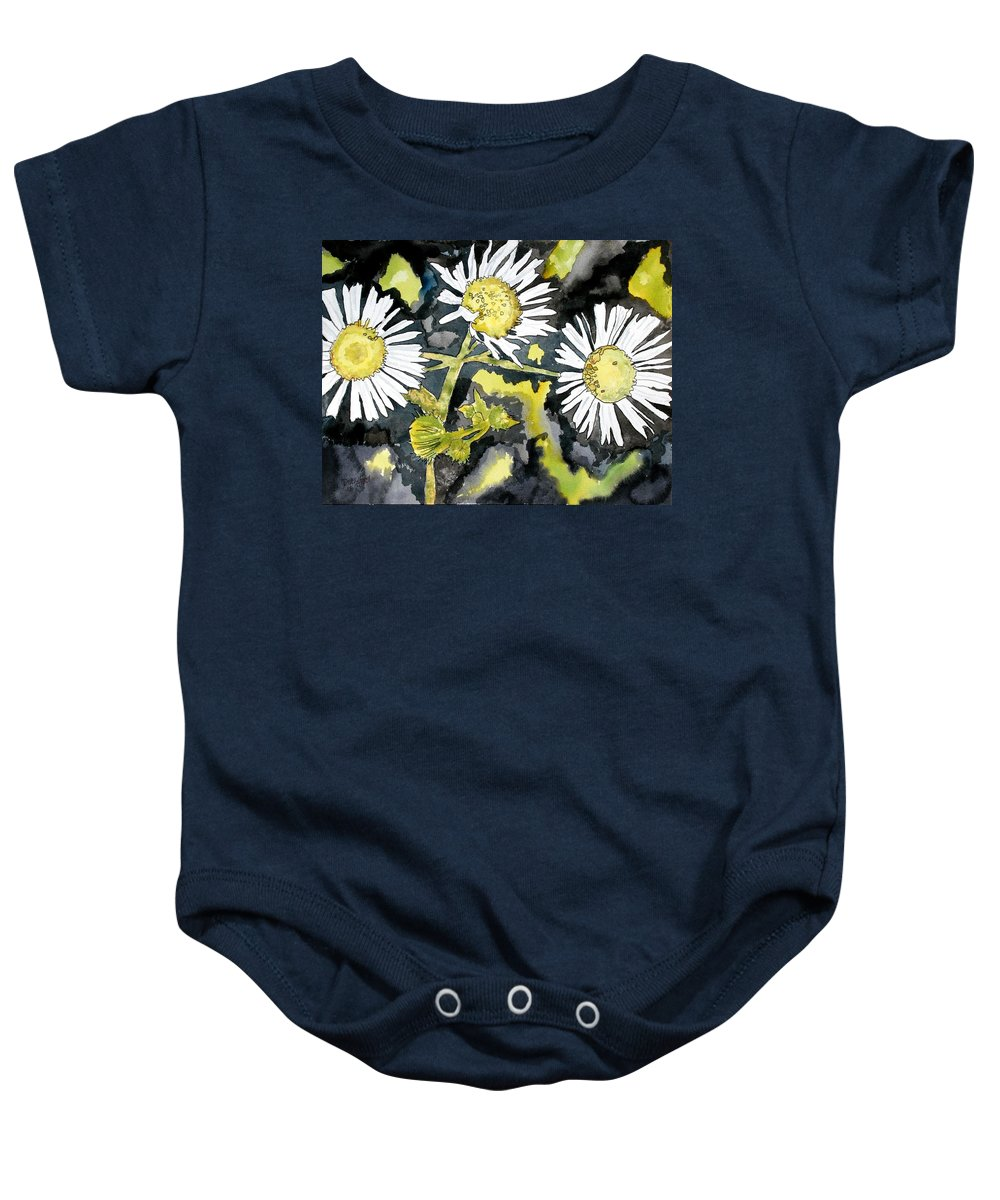 Wildflower Baby Onesie featuring the painting Heath Aster Flower Art Print by Derek Mccrea
