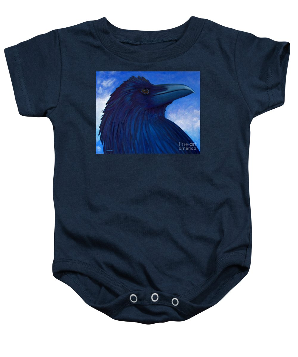 Raven Baby Onesie featuring the painting Heaven Bound by Brian Commerford