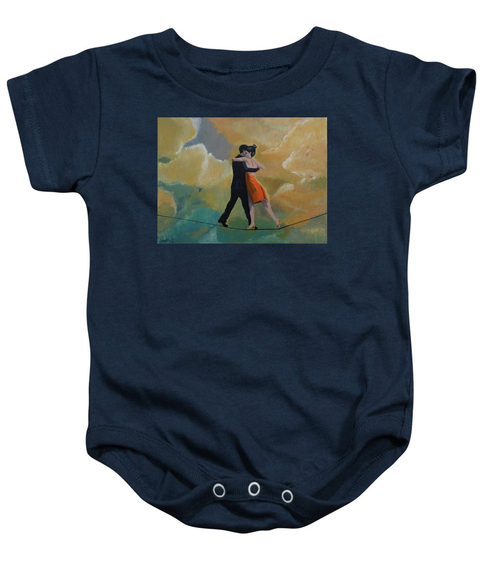 Dancing Baby Onesie featuring the painting Heavenly Dancers by Samantha Zaltowski