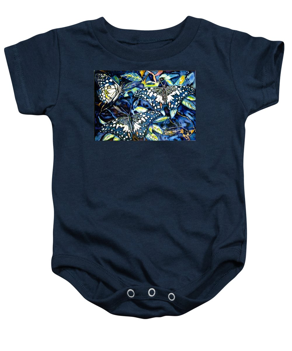 Butterfly Artwork Baby Onesie featuring the painting Heavenly Jewels by Norma Boeckler