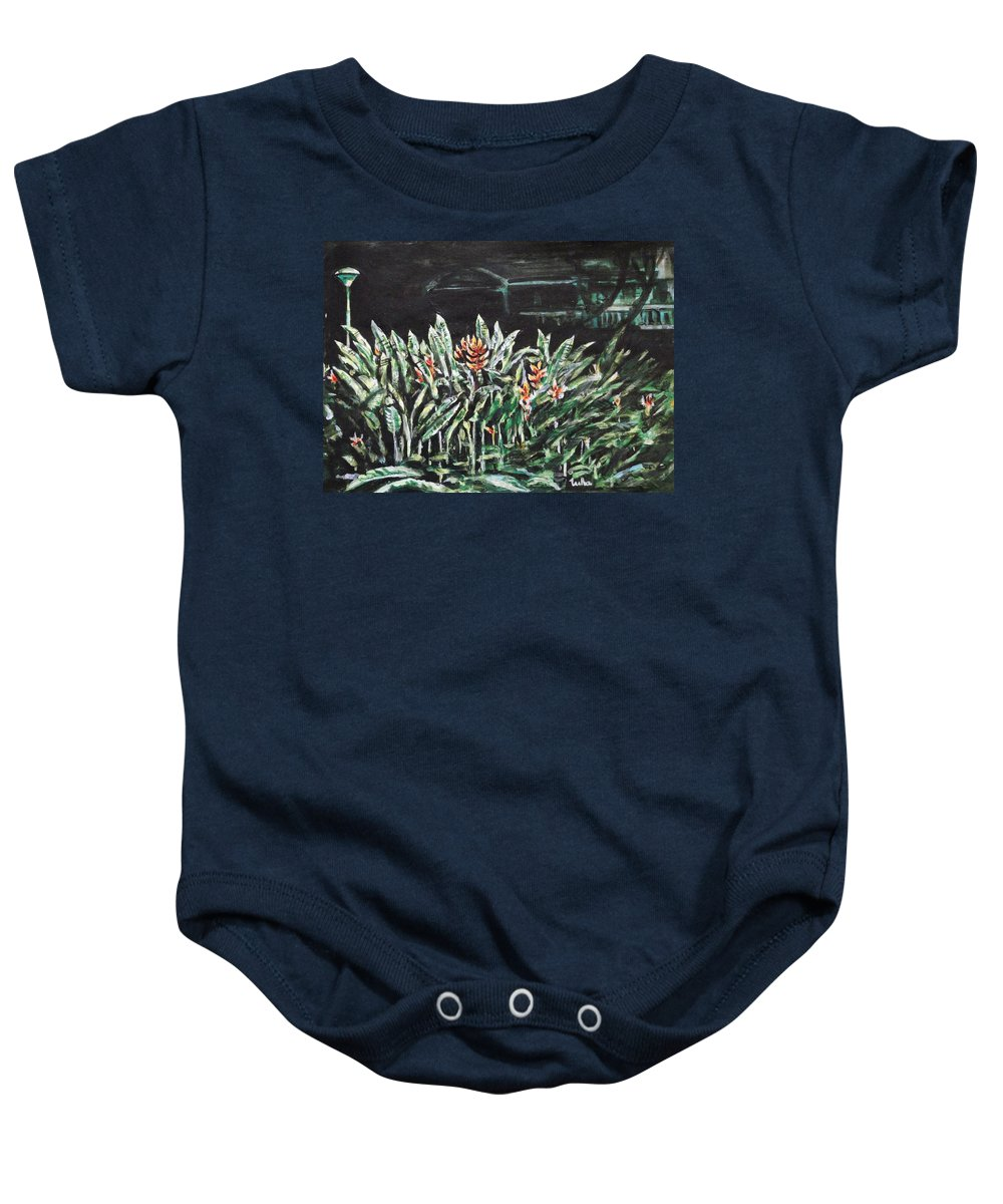 Heliconia Baby Onesie featuring the painting Heliconia 3 by Usha Shantharam