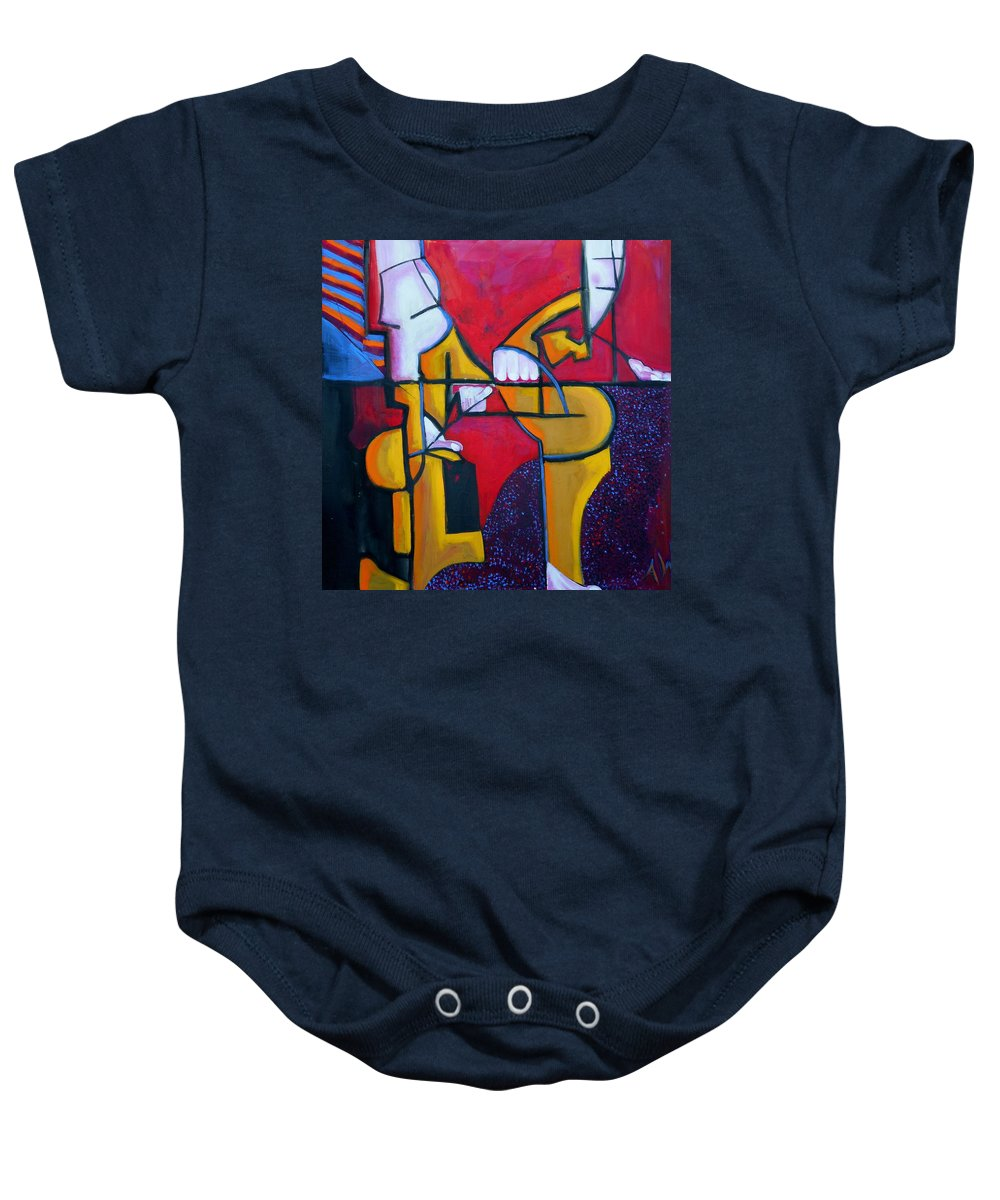 Abstract Baby Onesie featuring the painting Here by Angie Wright