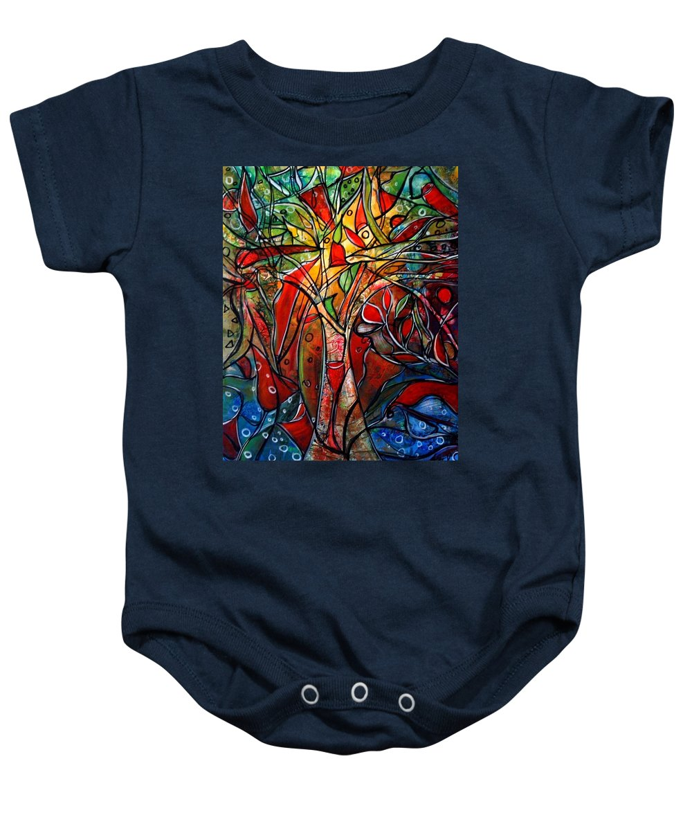 Landscape Baby Onesie featuring the painting Hidden Treasure by Luiza Vizoli