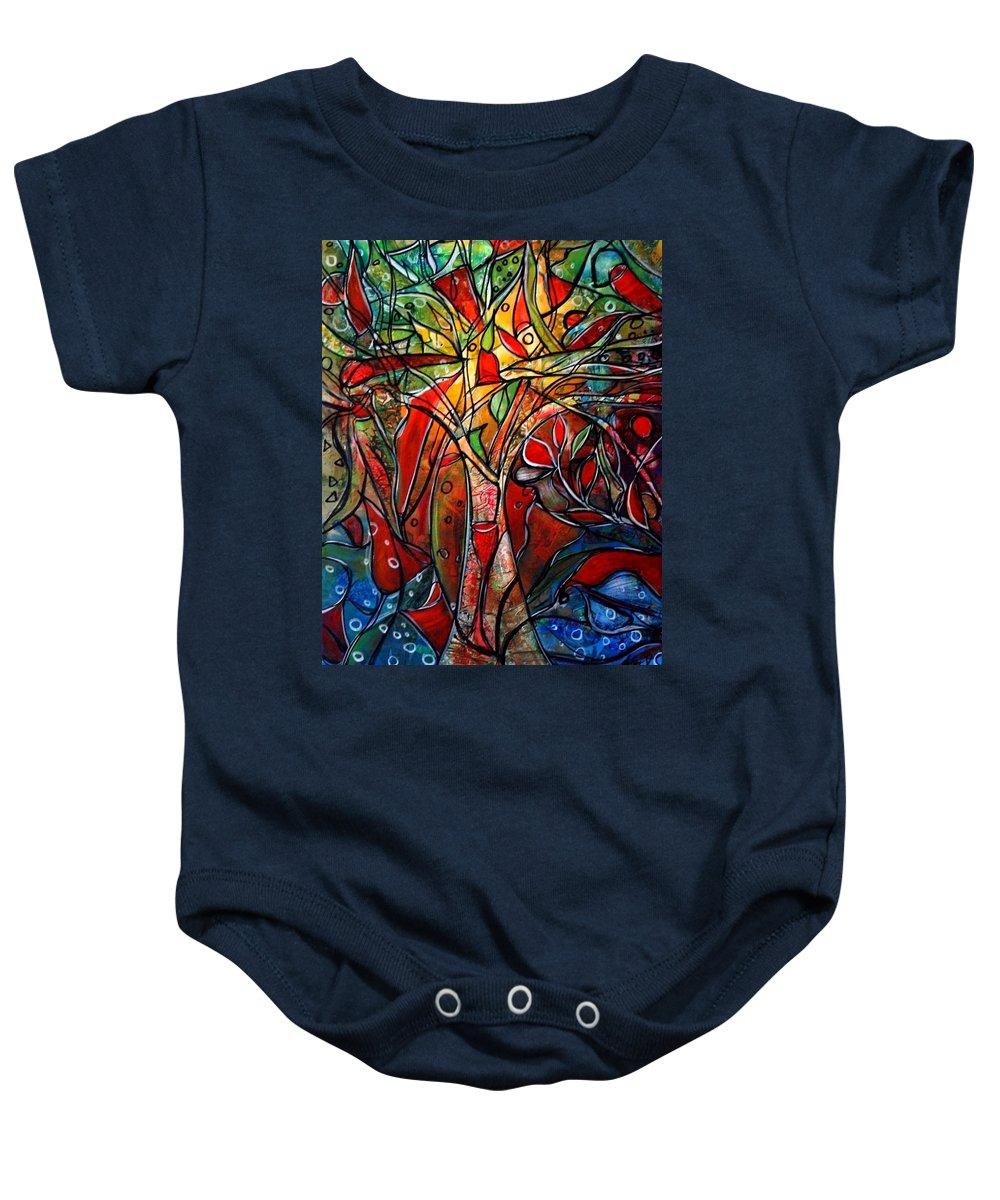 Landscape Baby Onesie featuring the painting Hidden Treasure by Luiza Vizoli
