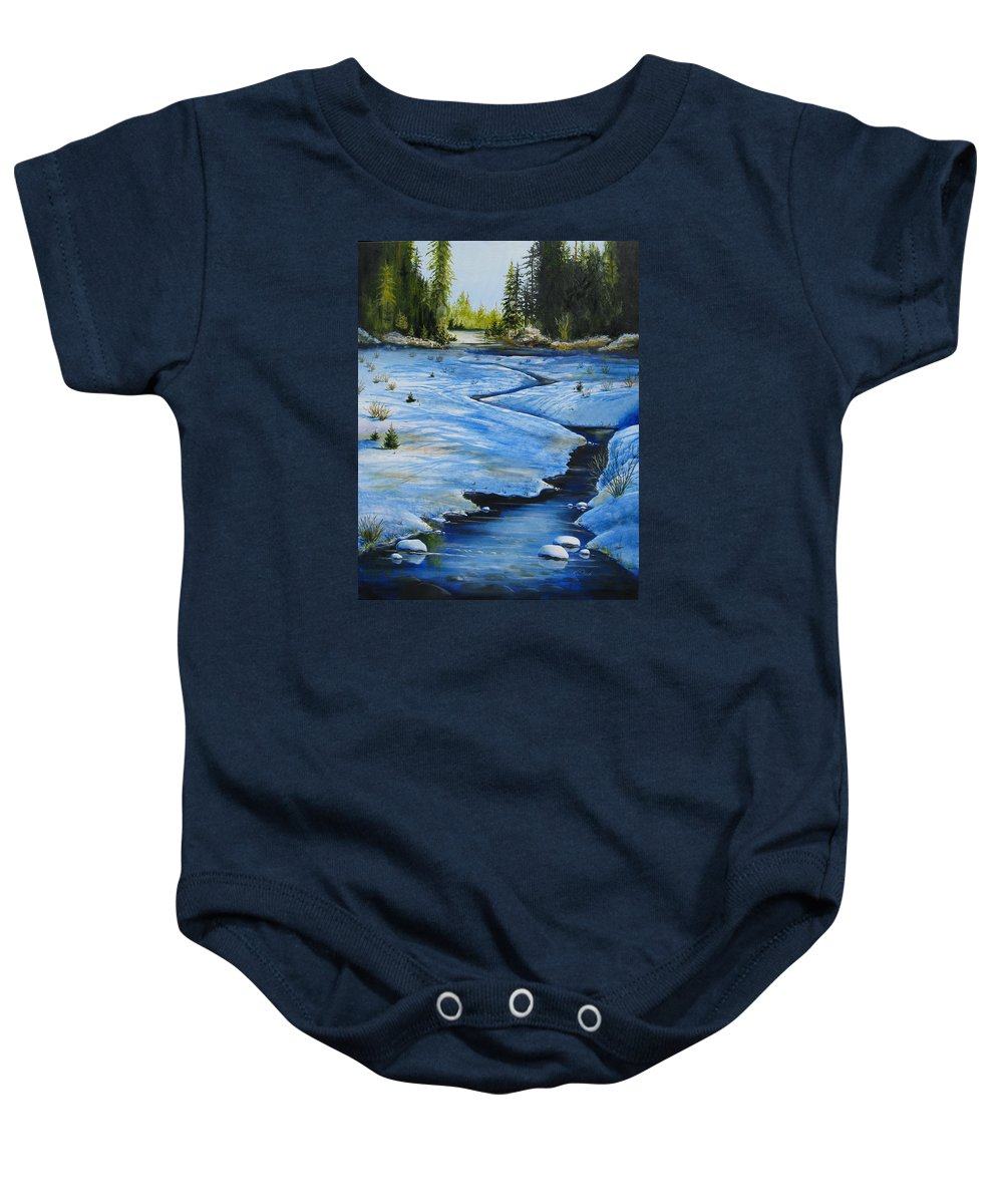 Landscape Baby Onesie featuring the painting High Country by Karen Stark
