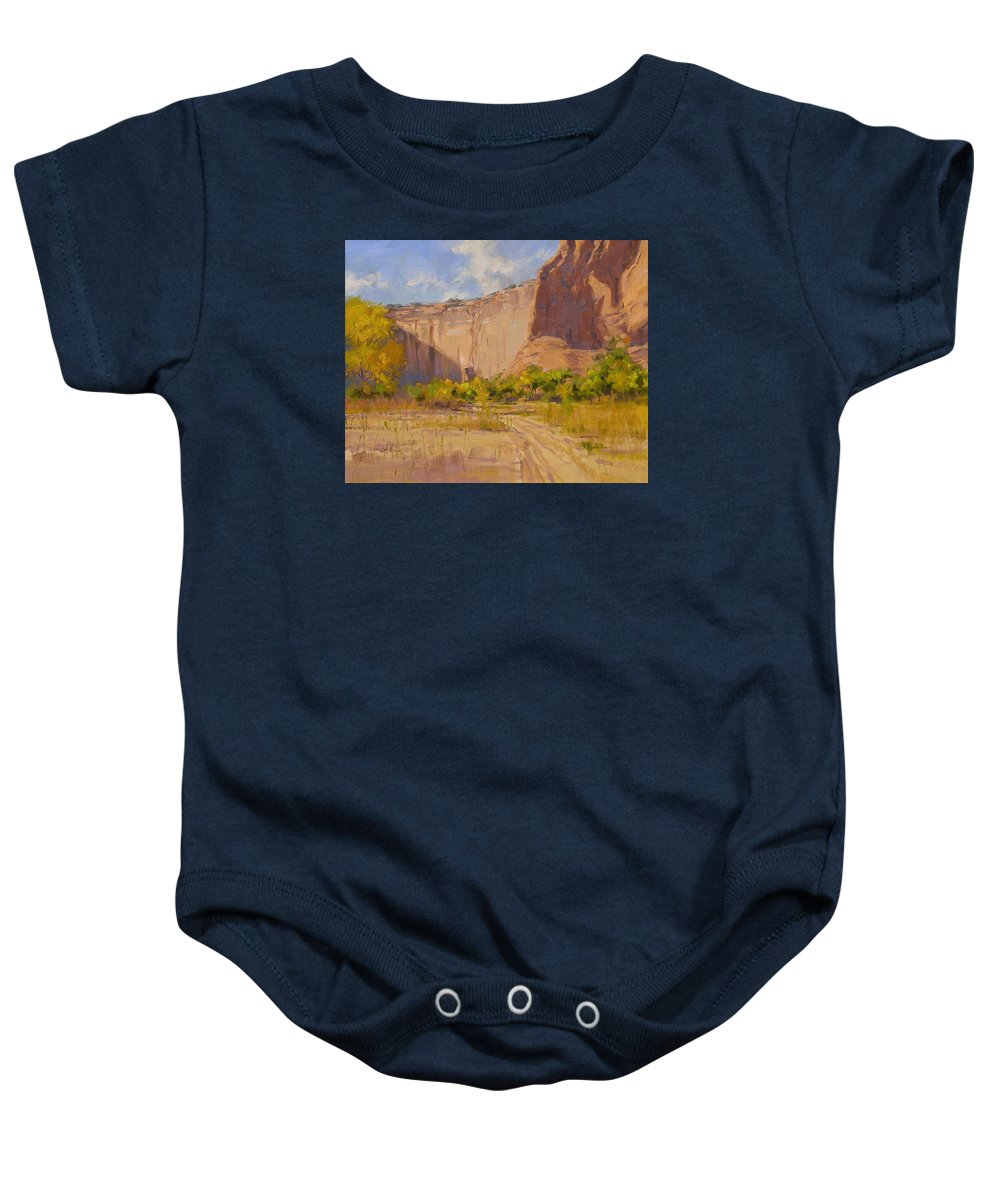 Fineart Baby Onesie featuring the painting Hint Of Autumn Canyon De Chelly by Spike Ress