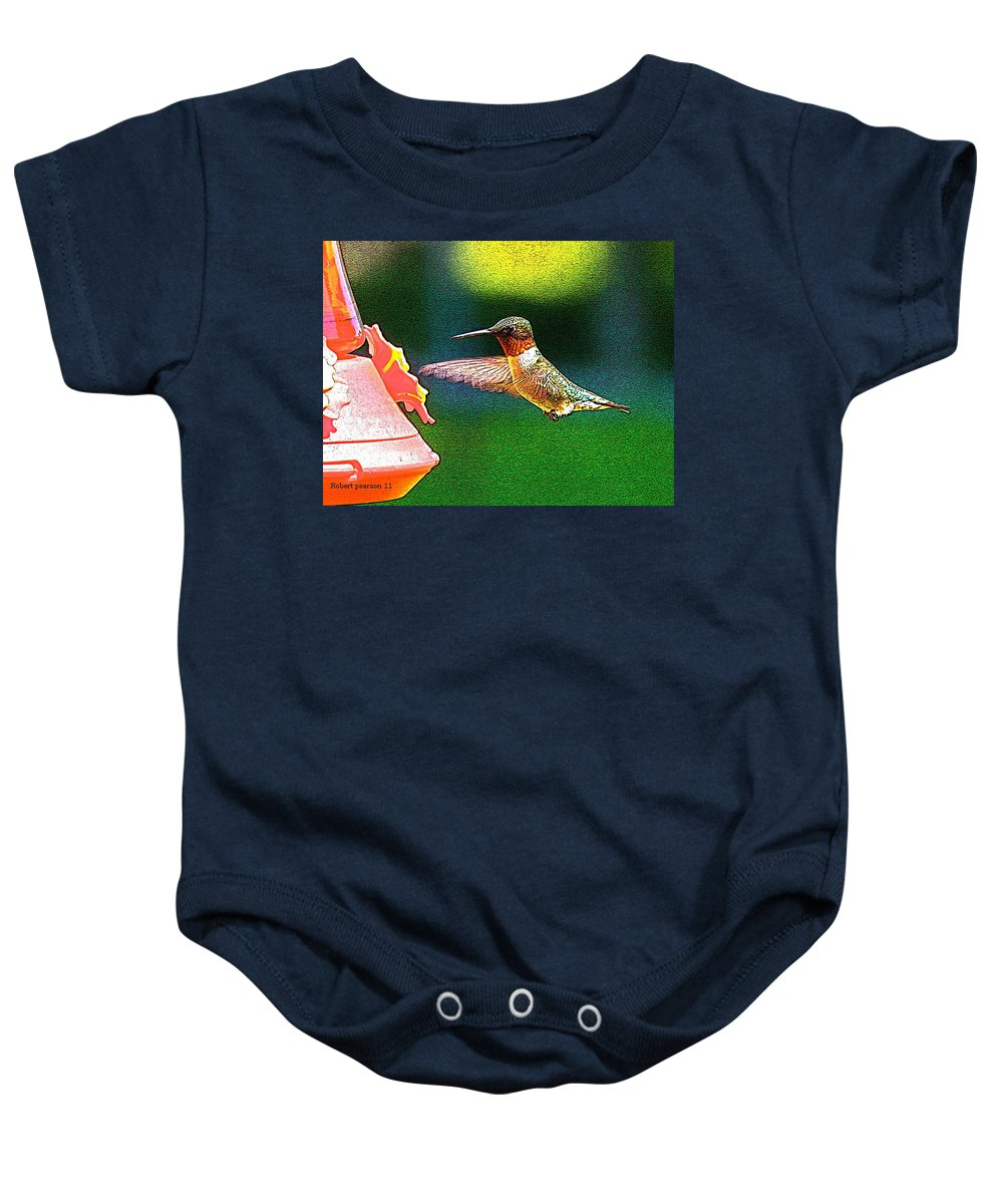 Humming Bird Baby Onesie featuring the photograph Hmmm by Robert Pearson