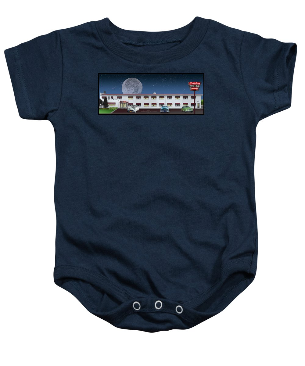 Motel Baby Onesie featuring the photograph Holiday Motel by Tim Nyberg
