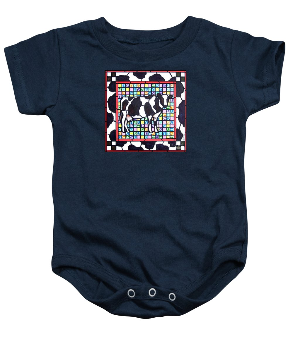 Cattke Baby Onesie featuring the painting Holstein 3 by Jim Harris
