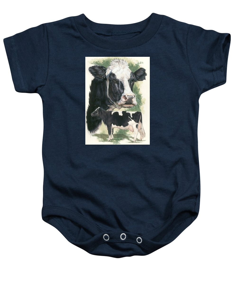 Cow Baby Onesie featuring the mixed media Holstein by Barbara Keith