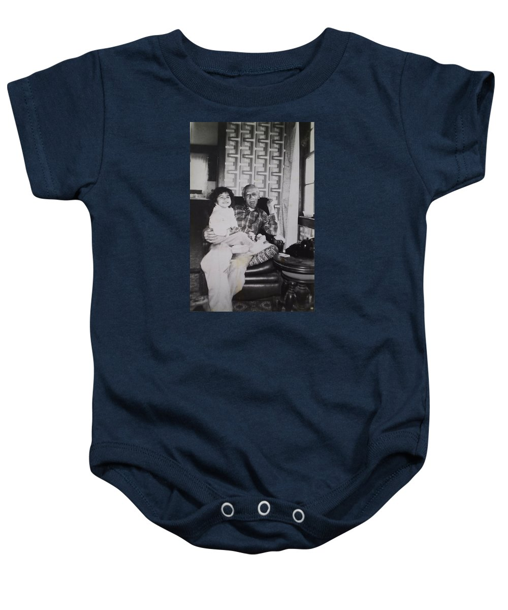 B&w Photo Great Grandfather Walter Dillinger&my Niece Jessica Knoxville Baby Onesie featuring the photograph Home 4 by William Douglas