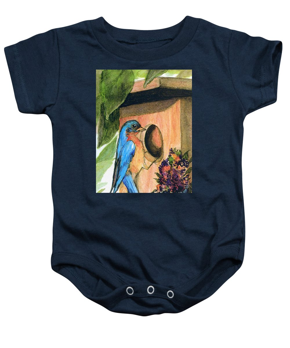 Bluebirds Baby Onesie featuring the painting Home Sweet Home by Gail Kirtz