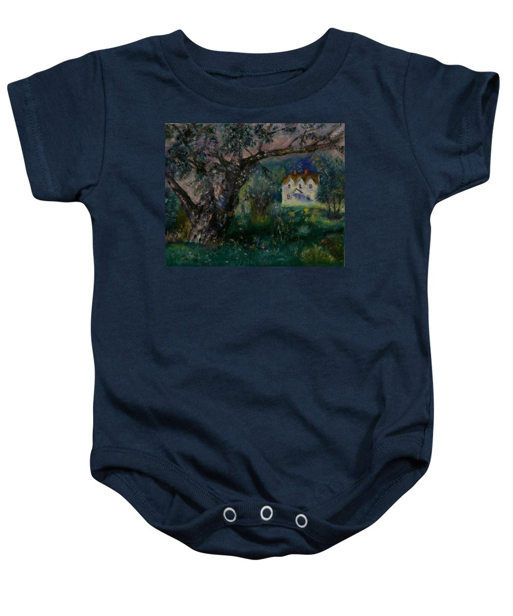 Landscape Baby Onesie featuring the painting Homestead by Stephen King