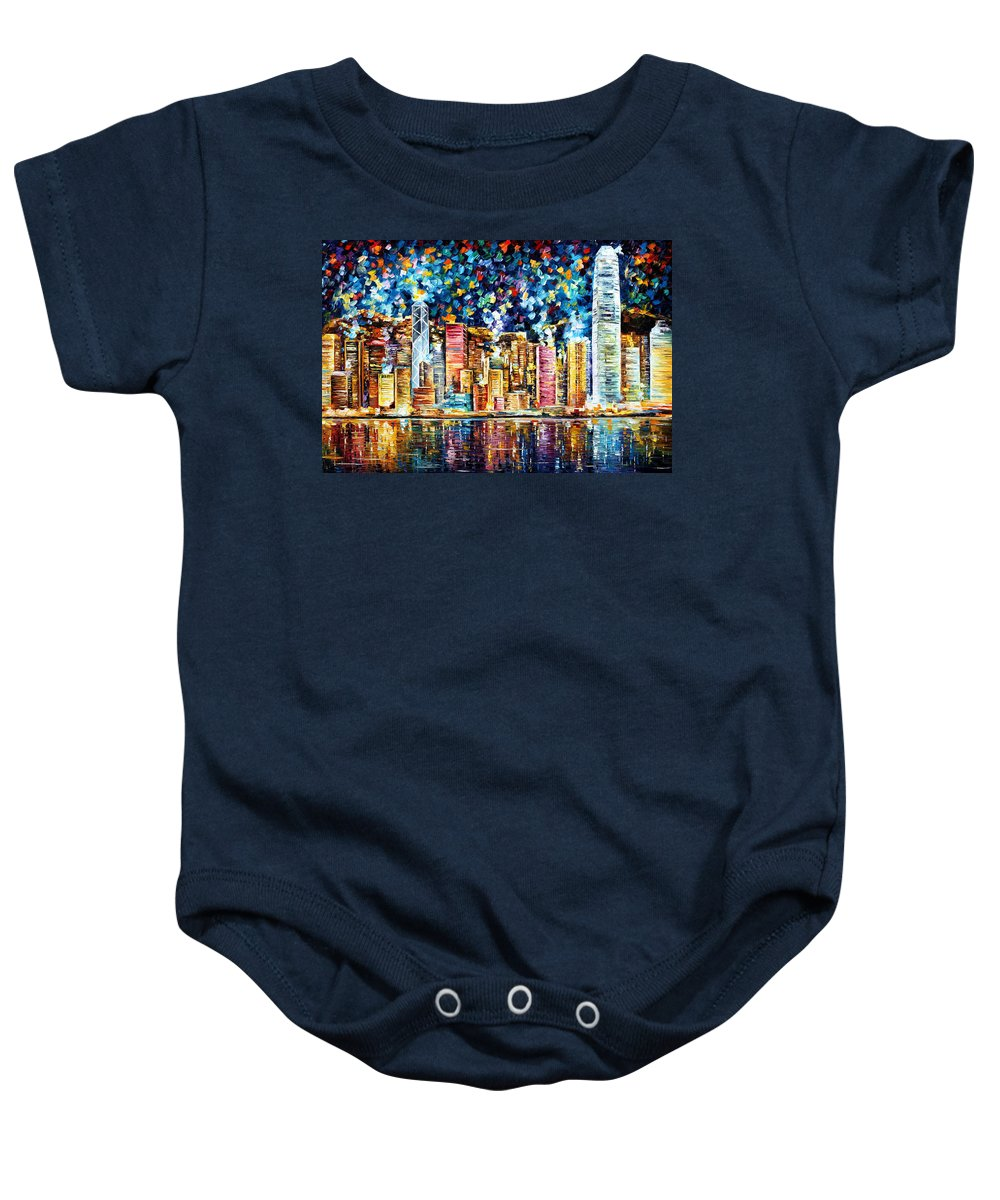 Art Gallery Baby Onesie featuring the painting Hong Kong - Palette Knife Oil Painting On Canvas By Leonid Afremov by Leonid Afremov