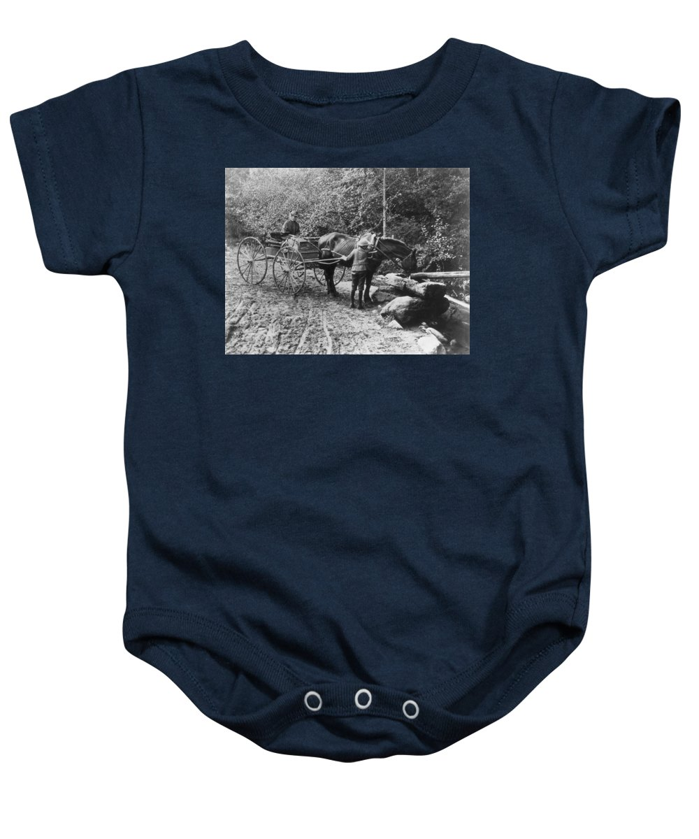 1910 Baby Onesie featuring the photograph Horse And Buggy by Granger
