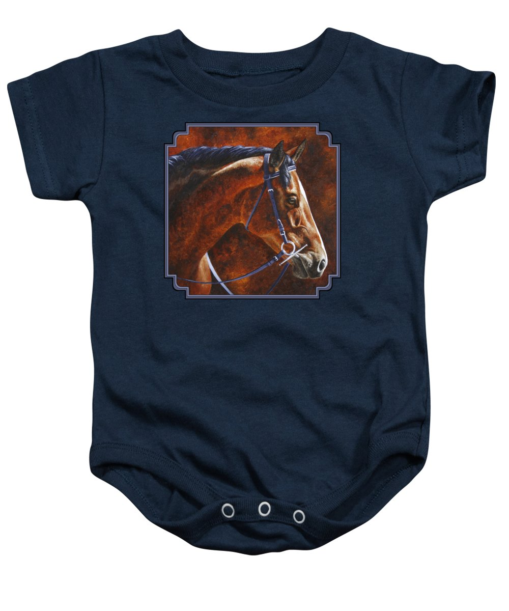 Horse Baby Onesie featuring the painting Horse Painting - Ziggy by Crista Forest