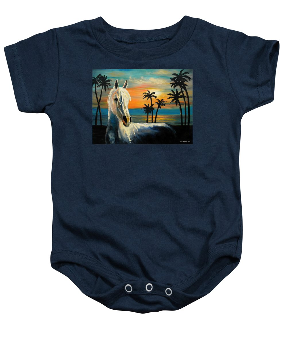 Horse Baby Onesie featuring the painting Horses In Paradise Tell Me Your Dream by Gina De Gorna
