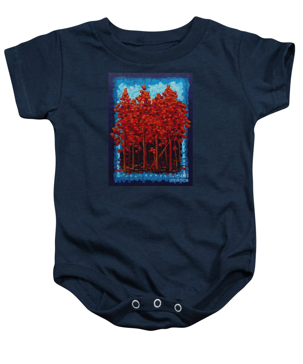 Trees Baby Onesie featuring the painting Hot Reds by Holly Carmichael