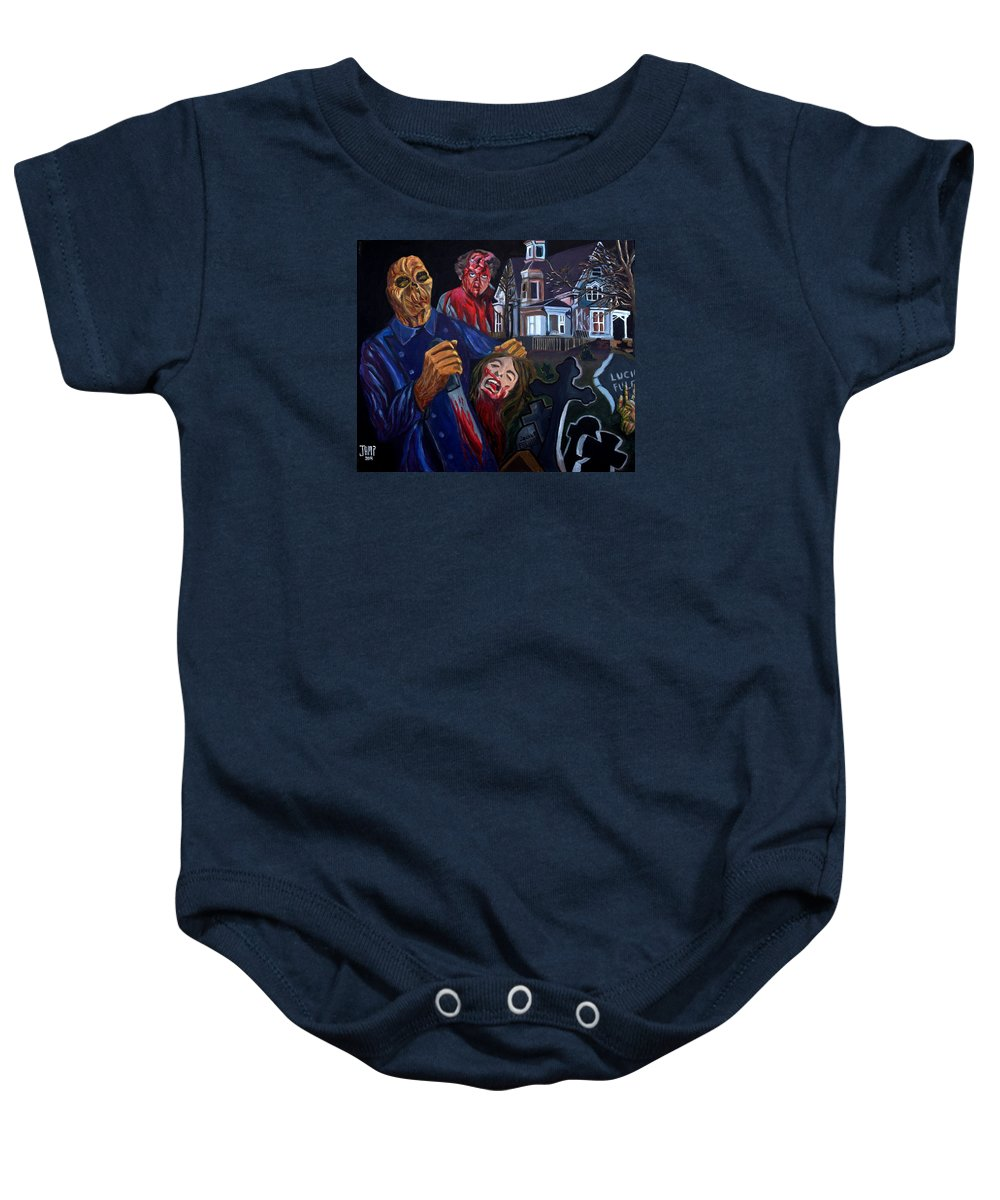 Dr.freudstein Baby Onesie featuring the painting House By The Cemetery by Jose Mendez