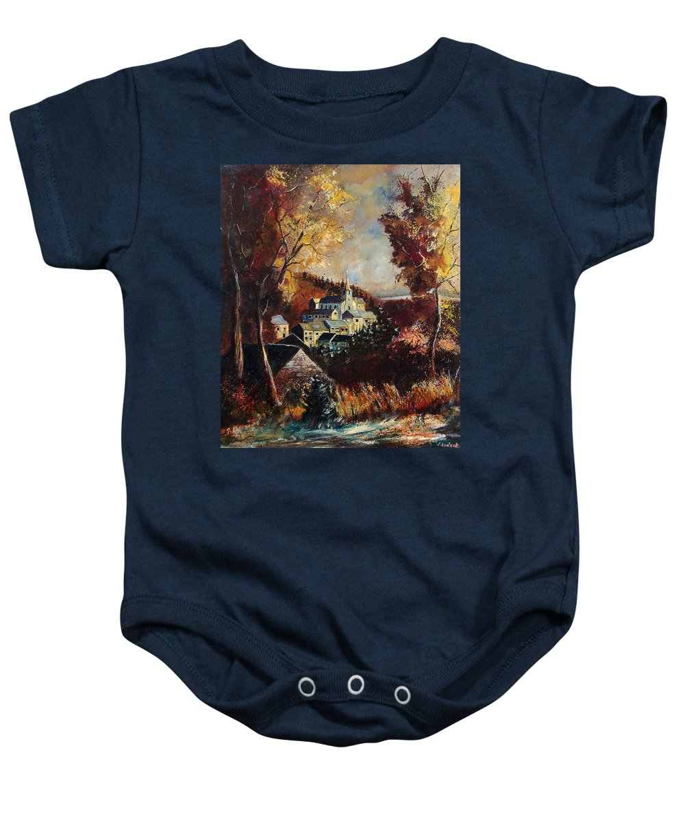 Tree Baby Onesie featuring the painting Houyet Village Belgium by Pol Ledent