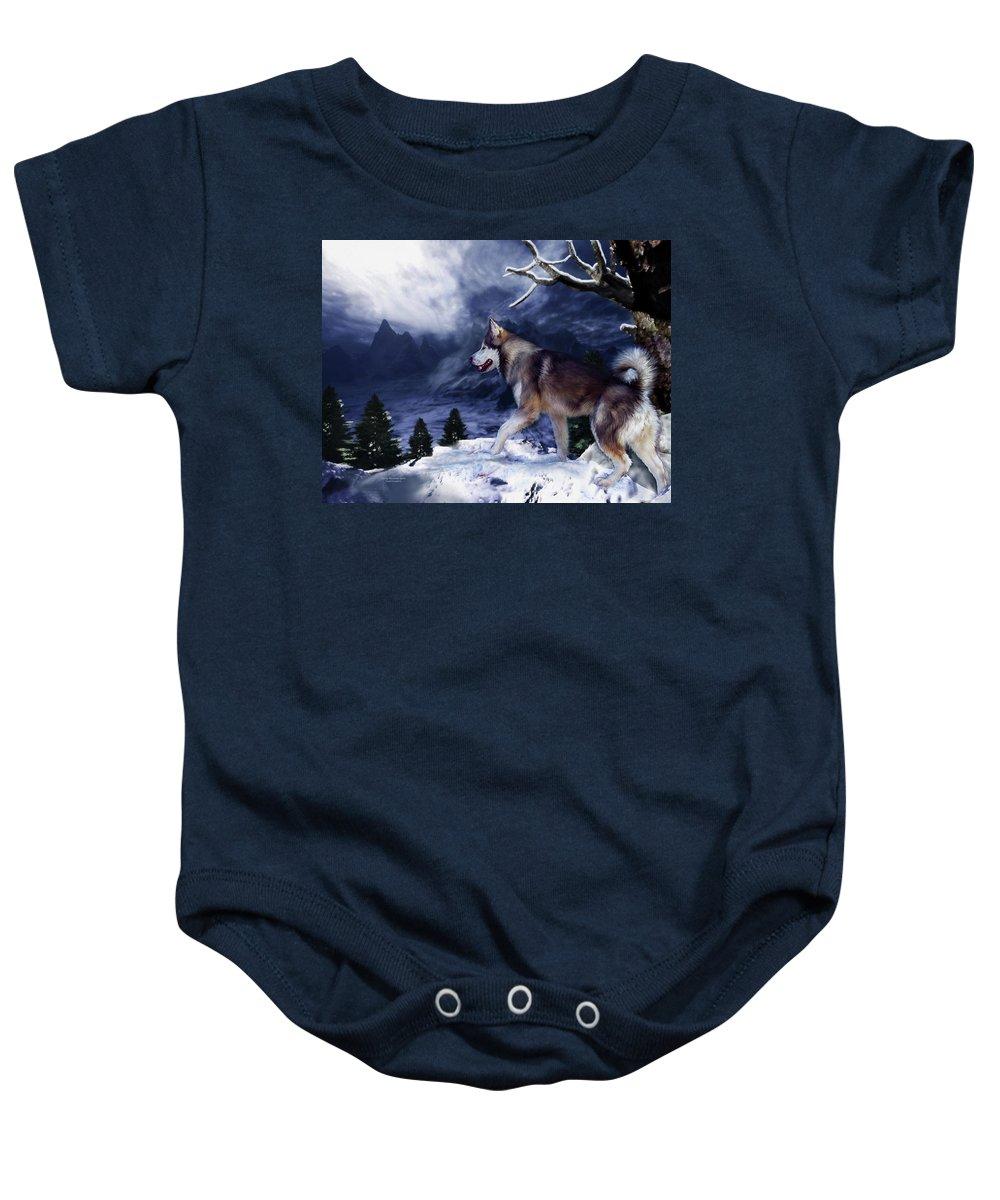 Husky Baby Onesie featuring the painting Husky - Mountain Spirit by Carol Cavalaris