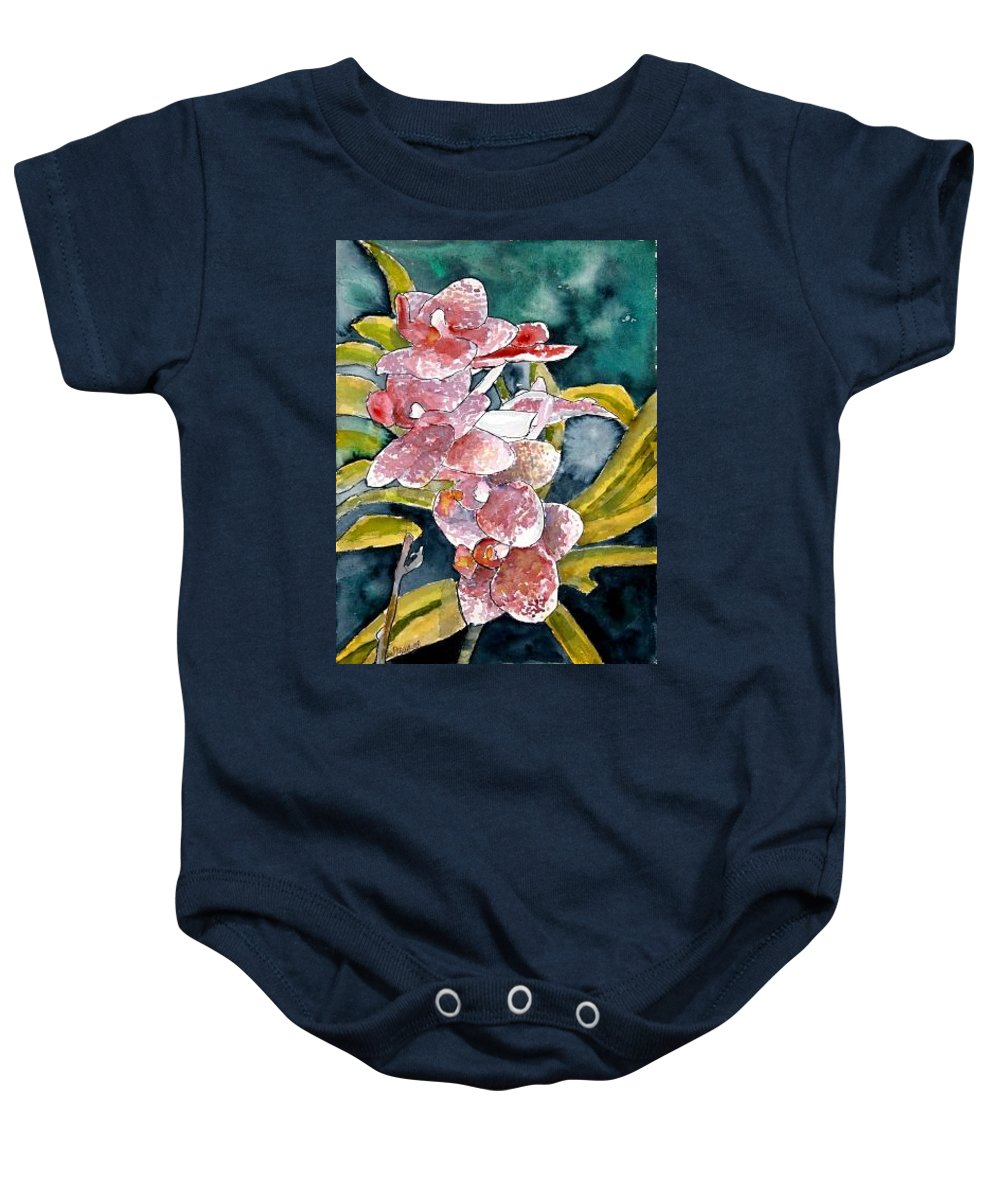 Orchid Baby Onesie featuring the painting Hybrid Orchids Orchid Flowers by Derek Mccrea