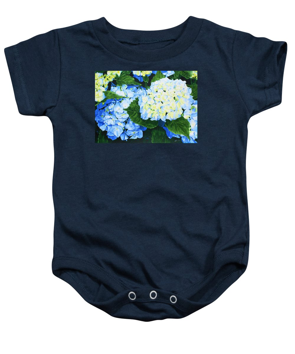 Hydrangeas Baby Onesie featuring the painting Hydrangeas by Frank Hamilton
