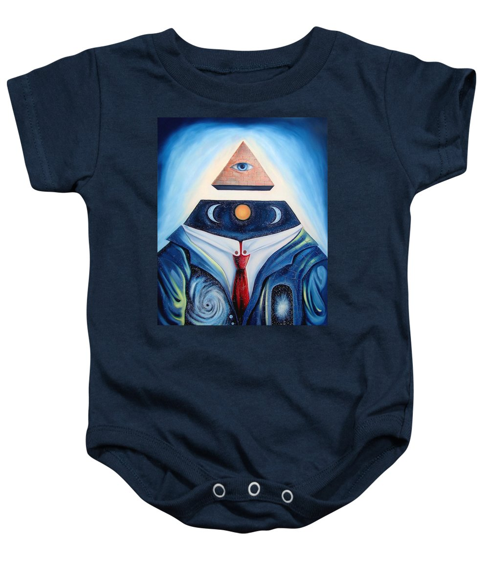 Surrealism Baby Onesie featuring the painting I Am by Darwin Leon