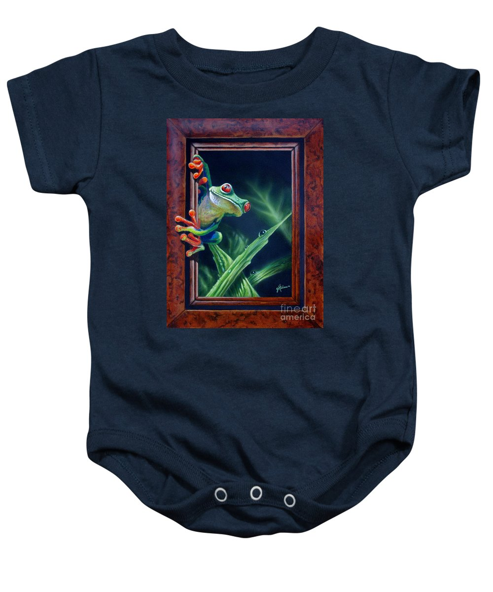 Green Tree Frog Baby Onesie featuring the painting 'i Was Framed' by Greg and Linda Halom