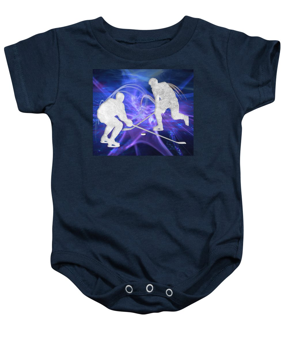 Hockey Baby Onesie featuring the painting Ice Hockey Players Fighting For The Puck by Elaine Plesser