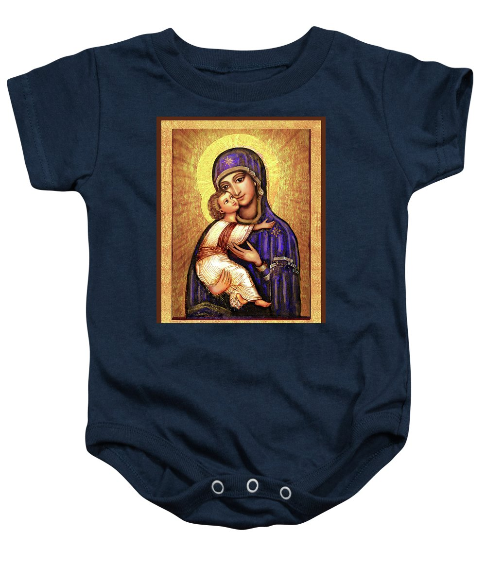 Mary And Jesus Baby Onesie featuring the mixed media Icon Madonna by Ananda Vdovic