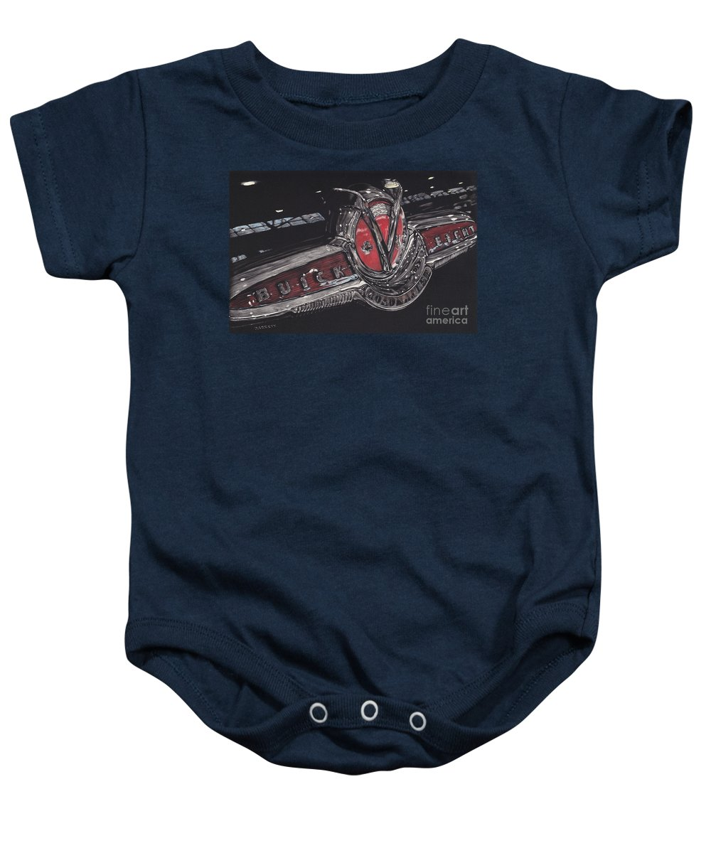 Classic Cars Baby Onesie featuring the drawing Icons Buick V8 by Matthew Jarrett
