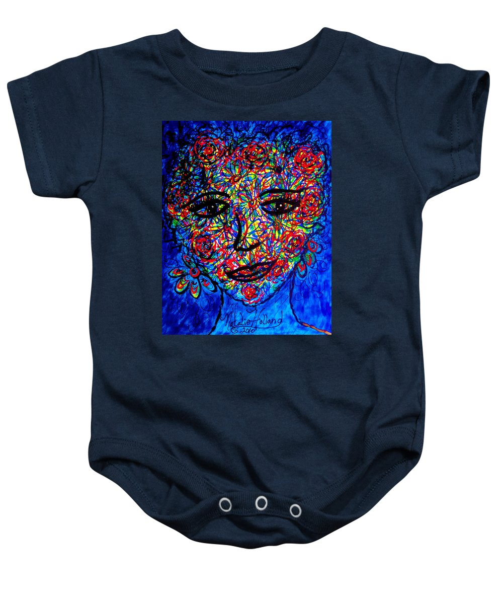 Woman Baby Onesie featuring the mixed media In Full Bloom by Natalie Holland
