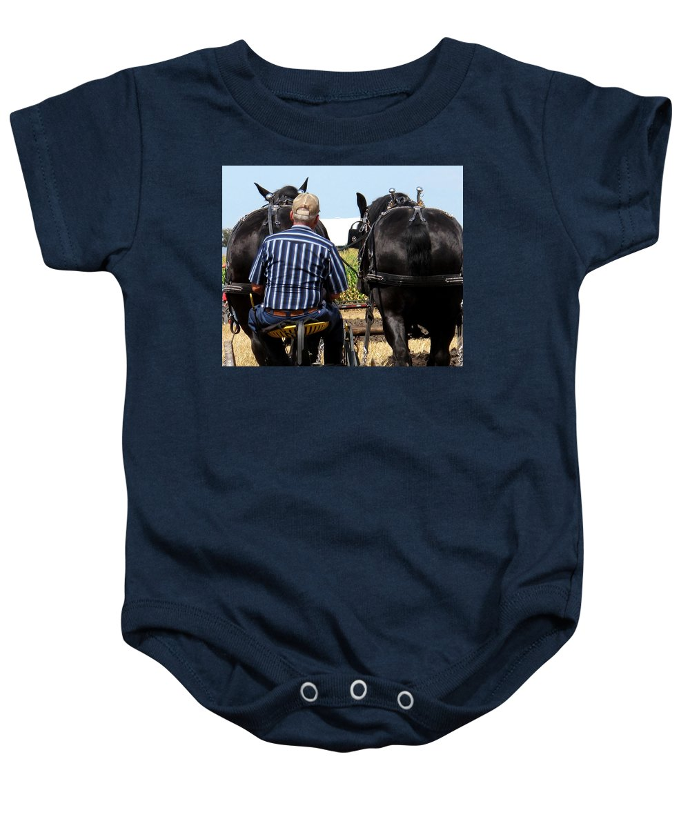 Plow Baby Onesie featuring the photograph In Sync by Ian MacDonald