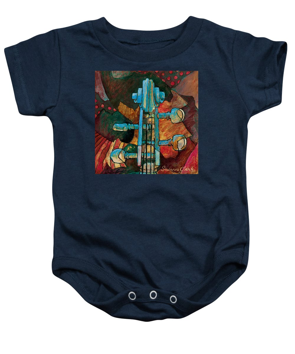Susanne Clark Baby Onesie featuring the painting In Tune - String Instrument Scroll In Blue by Susanne Clark